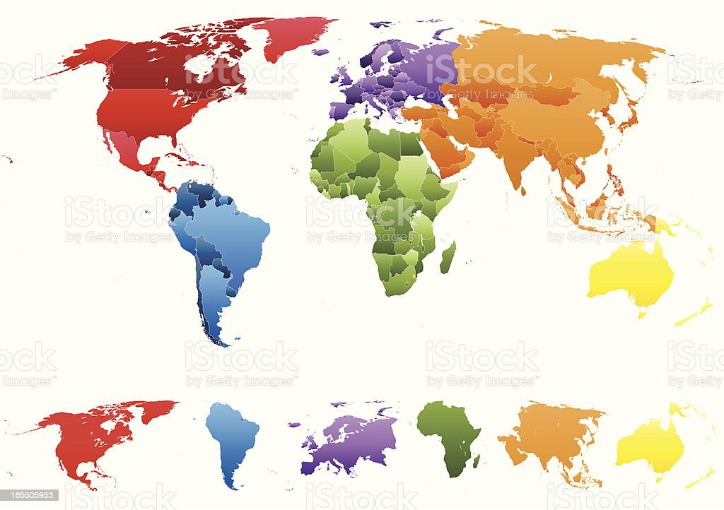 World Map with Individual Countries and Separate Continents royalty-free stock vector art