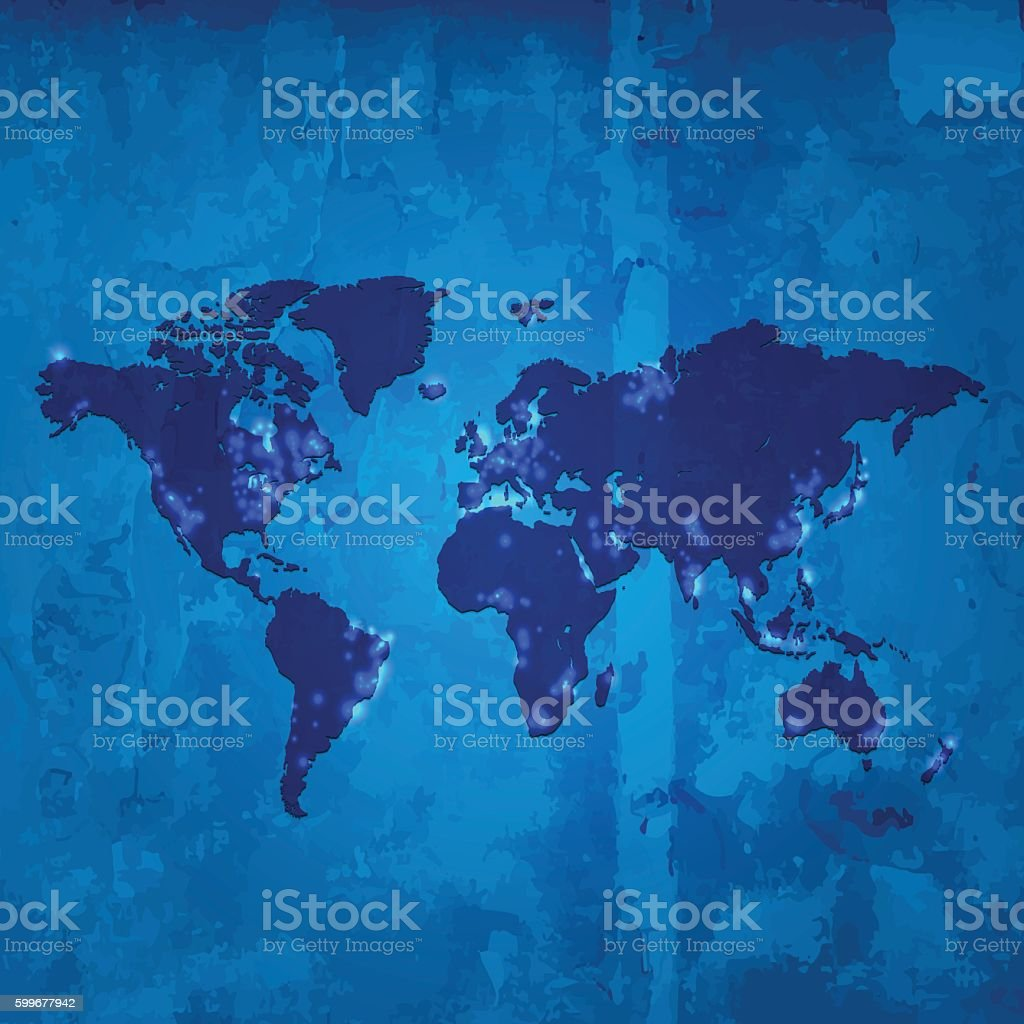 World map with light pollution on blue wooden stained background vector art illustration