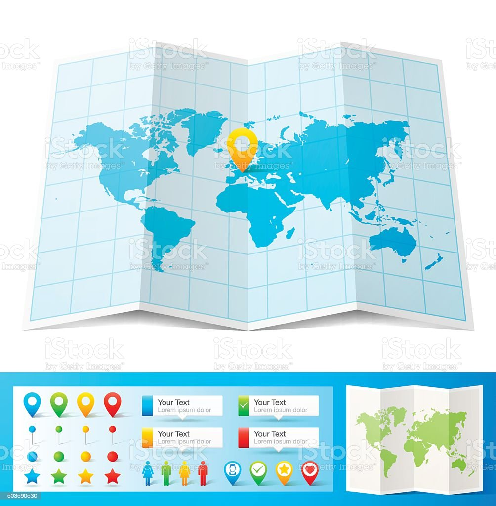 World Map with location pins isolated on white Background vector art illustration