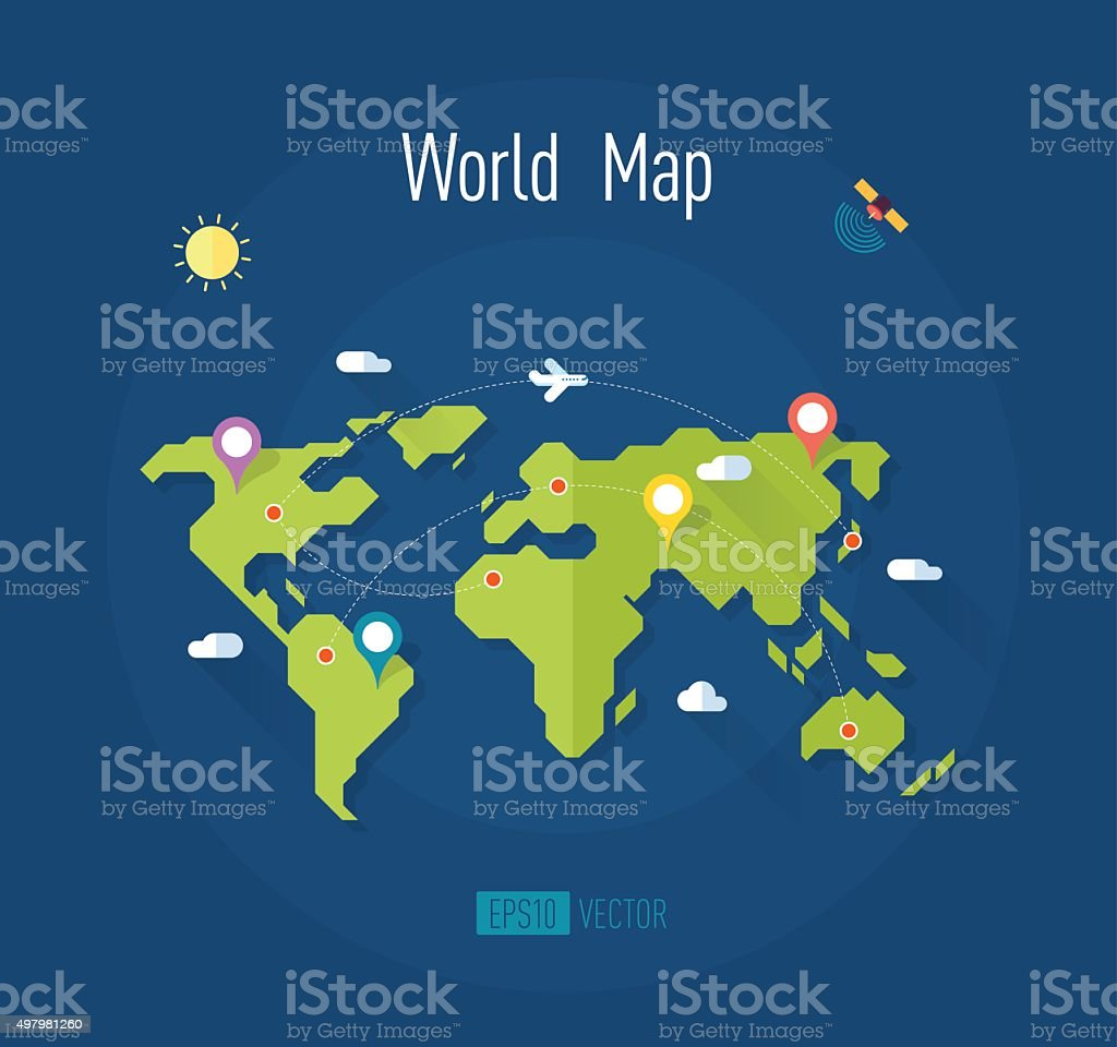 world map with marks ways pointers satellite airplane sun clouds vector art illustration