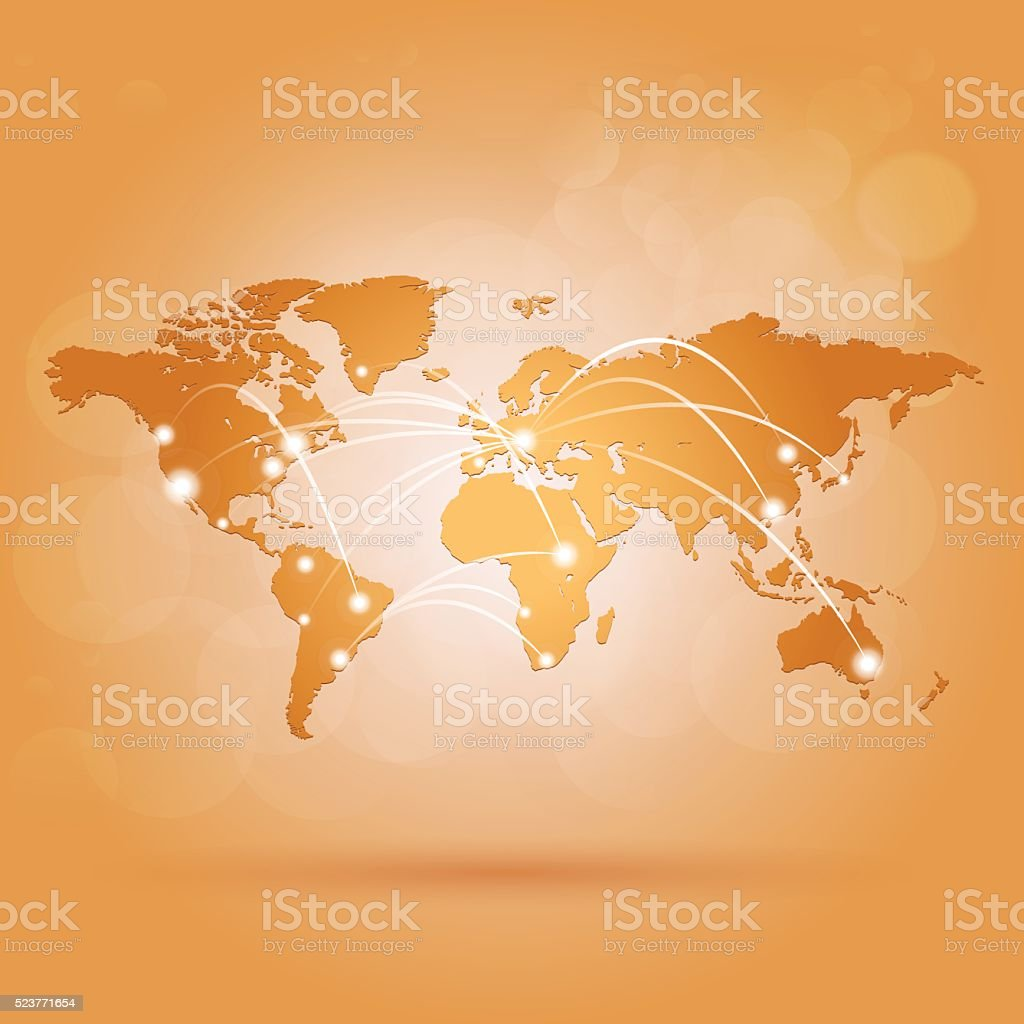 World map with network connections on orange amber background vector art illustration