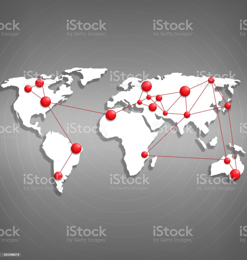 World map with red point marks on grayscale vector art illustration