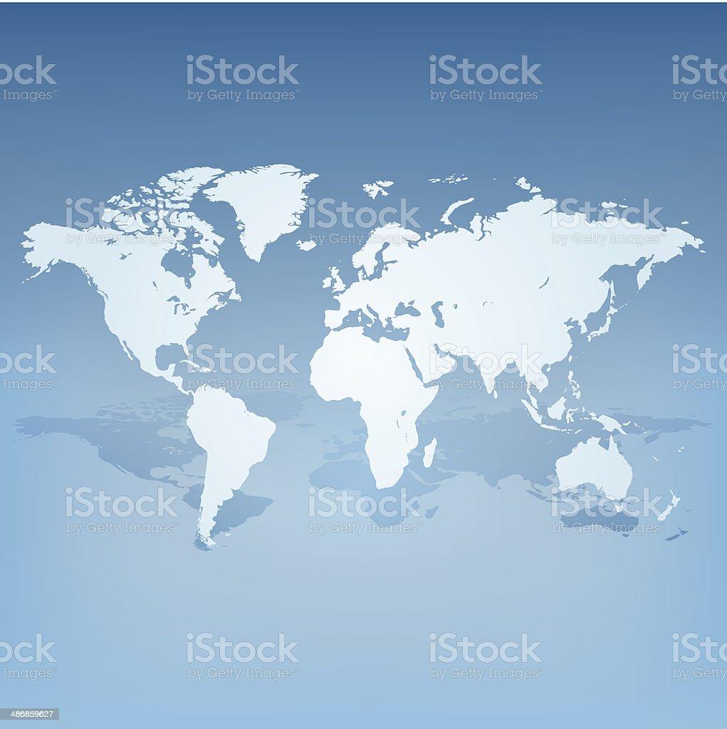 Mapa-múndi com sombra conceito 3d ilustração vetor e ilustração royalty-free royalty-free