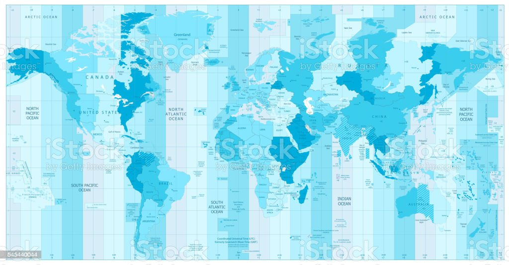 World Map with Standard Time Zones in colors of blue vector art illustration