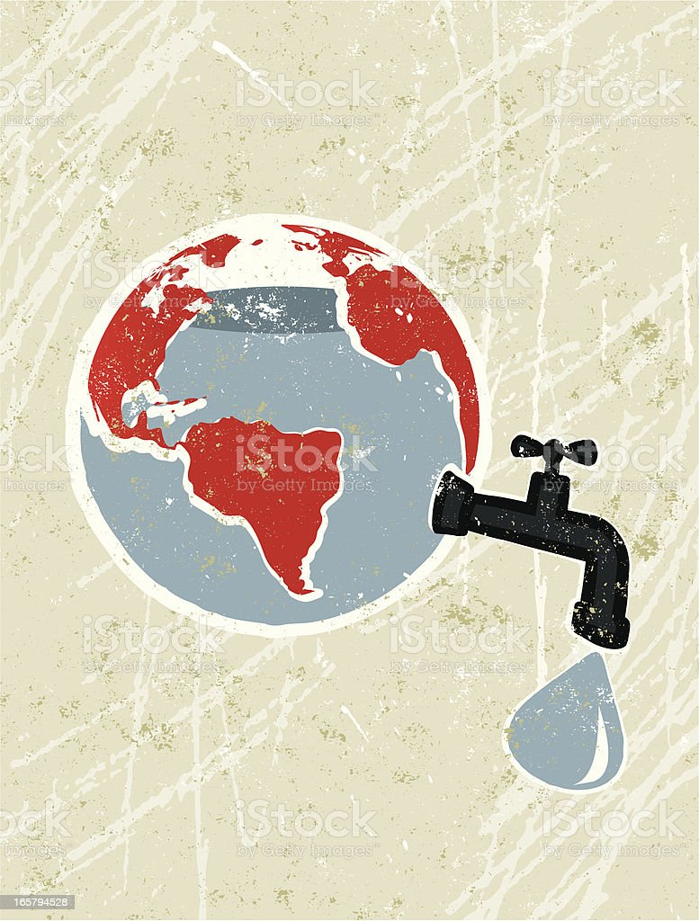 World Map with Water leaking from a Faucet (Tap) royalty-free stock vector art