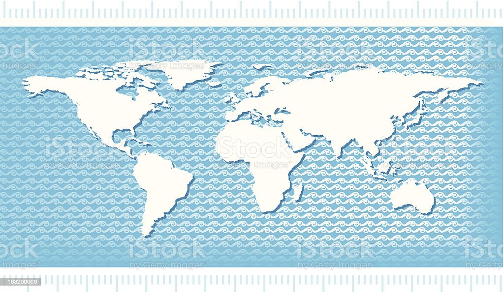 World Map with water waves royalty-free stock vector art