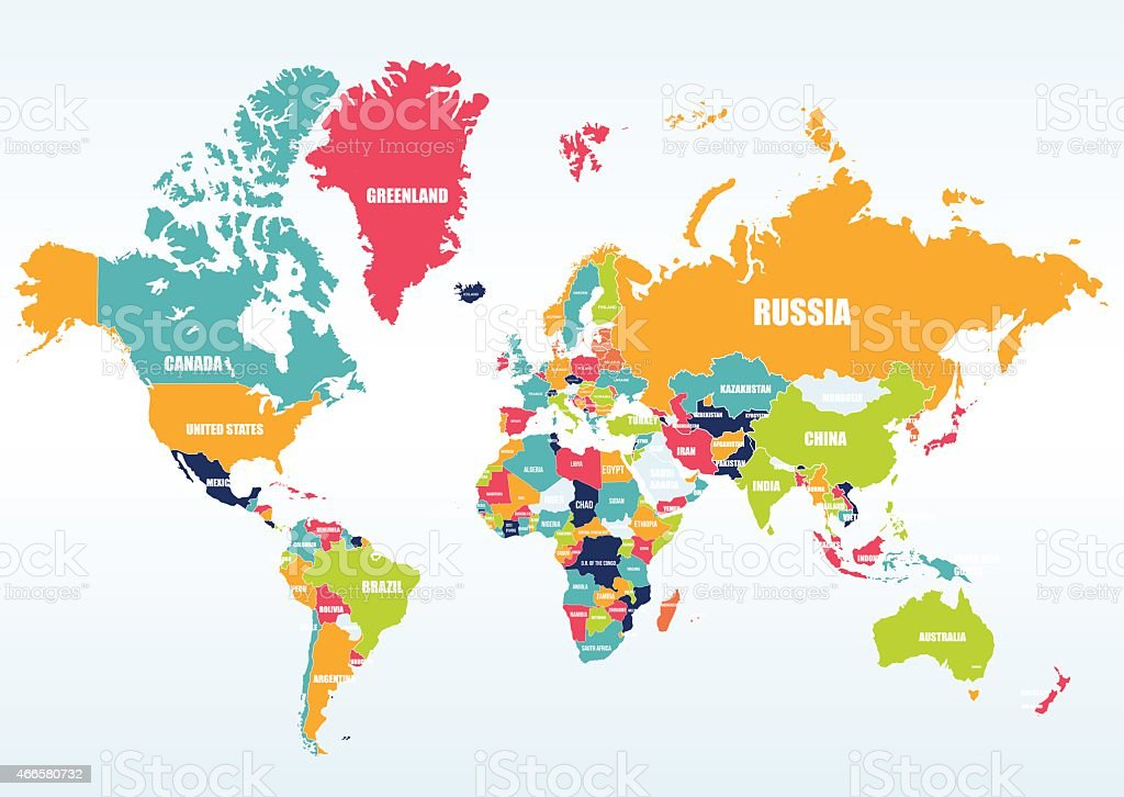 World map-countries vector art illustration