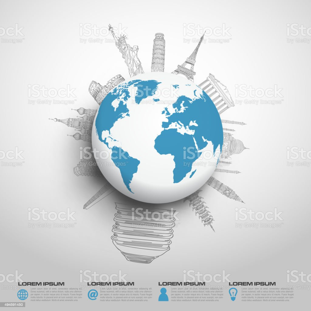 World monument sketch vector vector art illustration