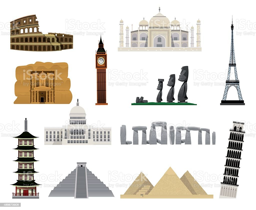World monuments flat icons vector art illustration
