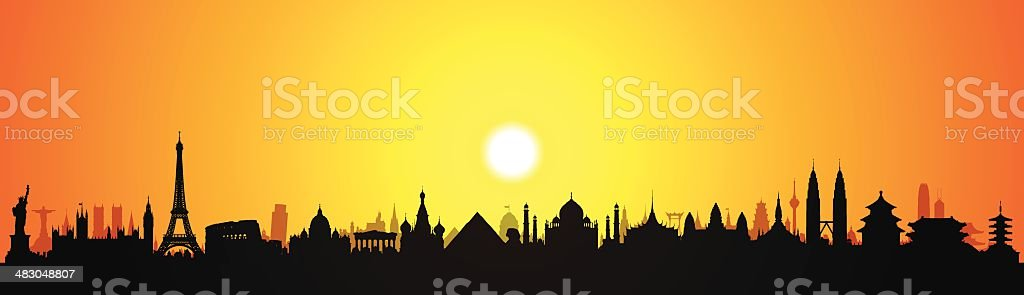 World Monuments (Buildings Are Detailed, Moveable and Complete) vector art illustration