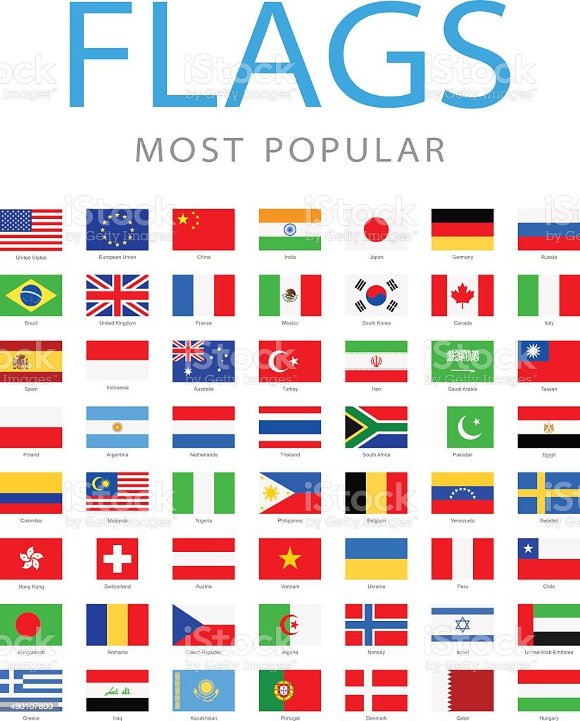 World Most Popular Flags - Illustration vector art illustration