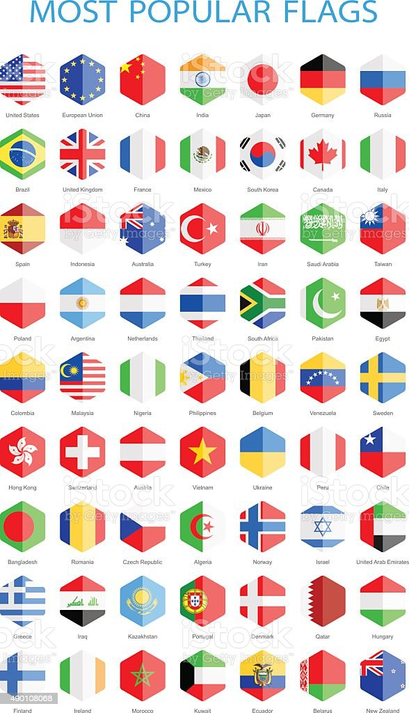 World Most Popular Hexagonal Flags - Illustration vector art illustration