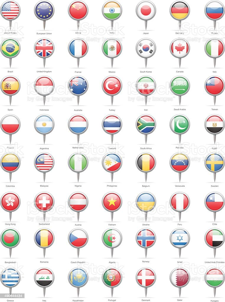 World Most Popular Round Flag Pins - Illustration vector art illustration