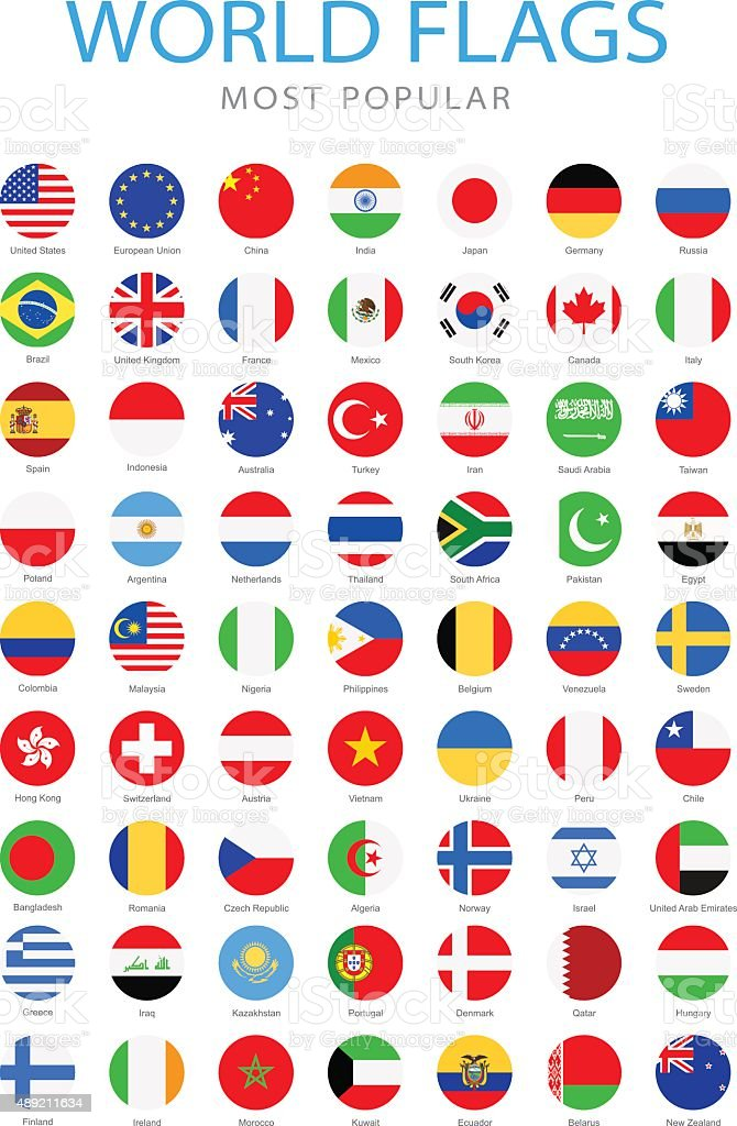 World Most Popular Rounded Flags - Illustration vector art illustration
