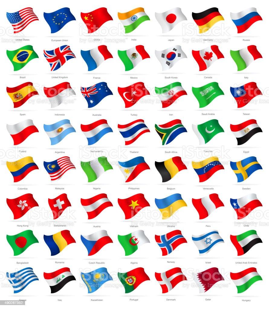 World Most Popular Waving Flags - Illustration vector art illustration