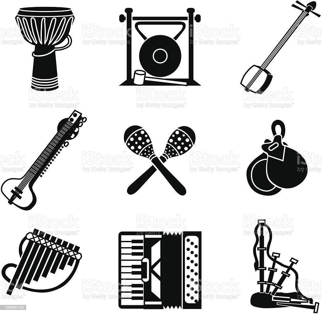 world music icons vector art illustration