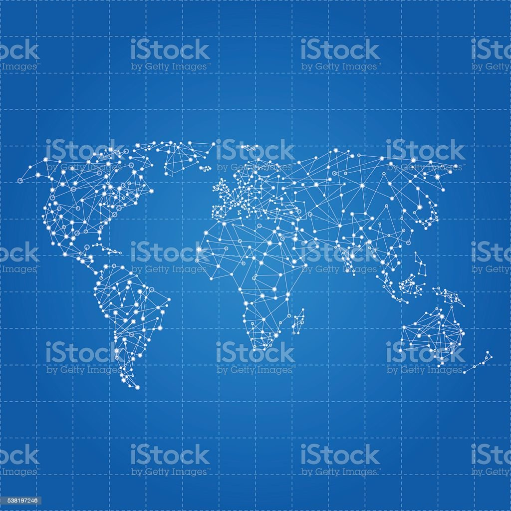 World network map on blue grid background vector art illustration