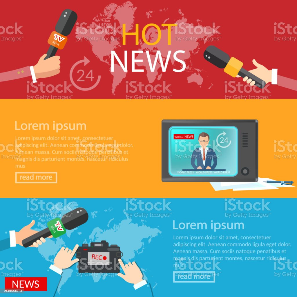 World news banners global online telecommunications tv radio vector art illustration