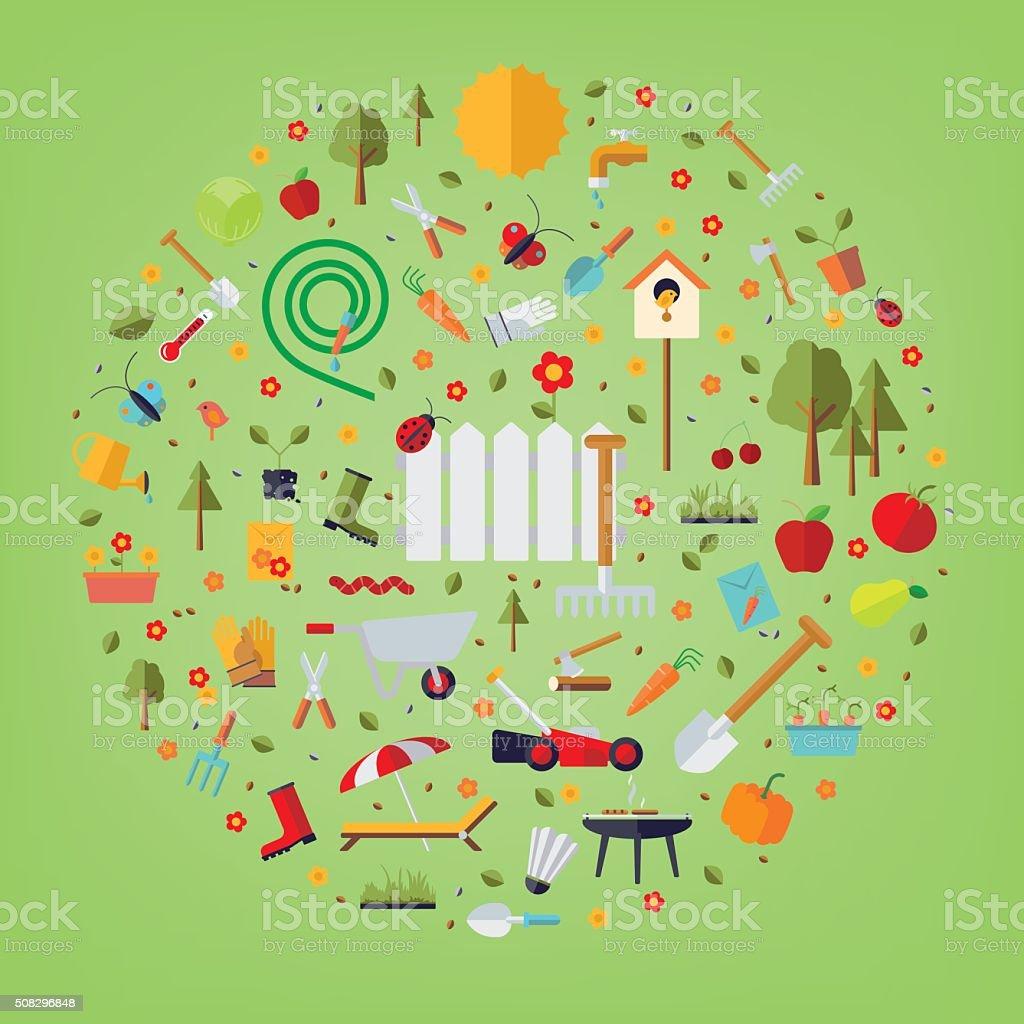 World of Gardening Concept vector art illustration