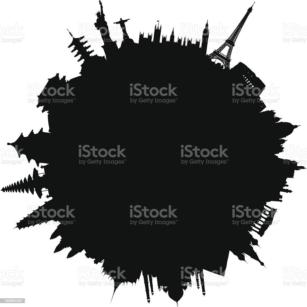 World of Monuments (Buildings Are Detailed, Moveable and Complete) royalty-free stock vector art