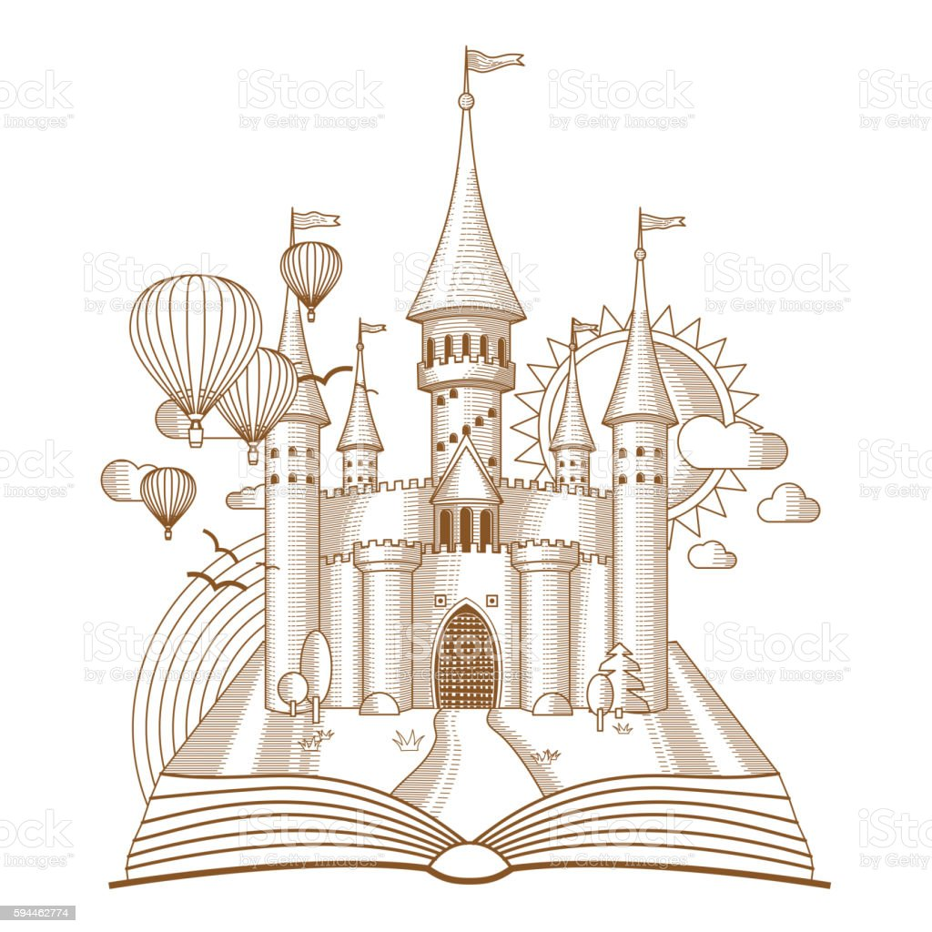 World of tales, fairy castle appearing from the old book vector art illustration