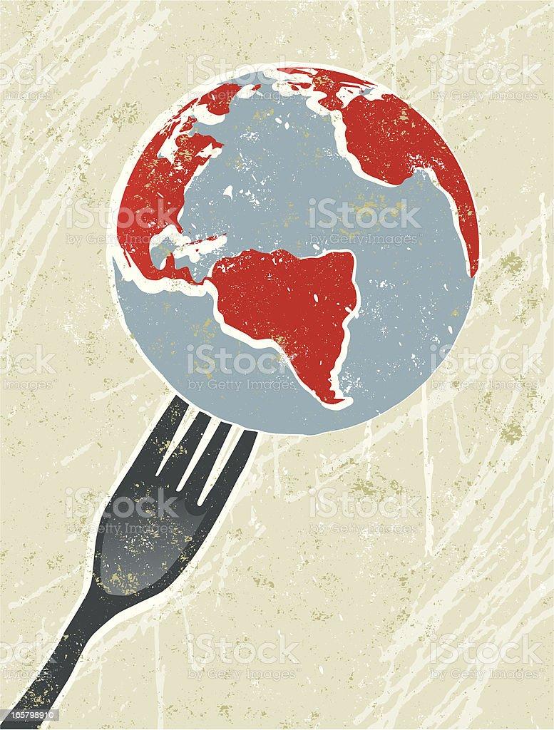 World on a Fork vector art illustration