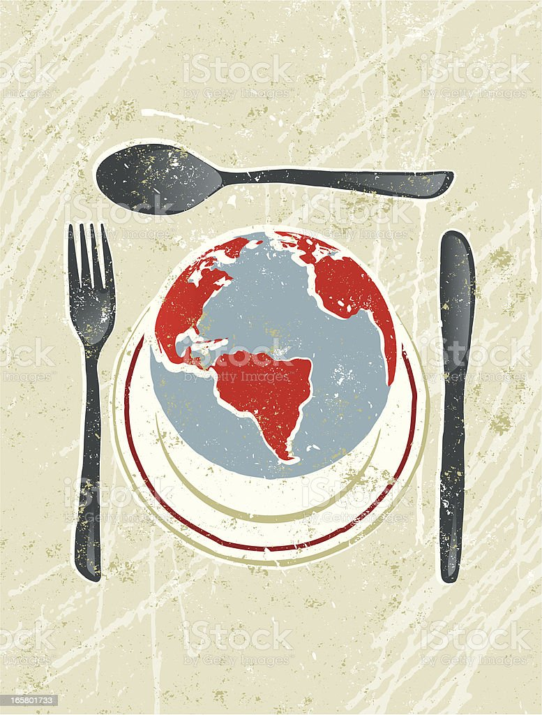World on a plate with knife, Fork and Spoon royalty-free stock vector art
