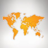 World orange map glowing on grey background