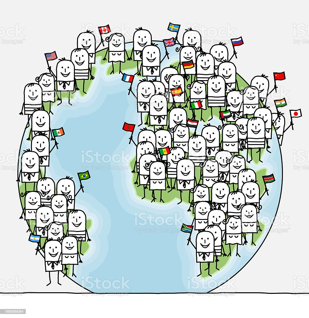 world people & flags stock photo