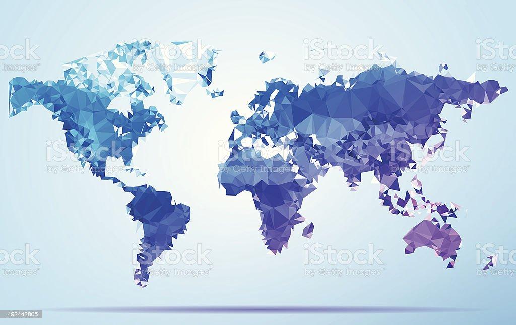 World Polygon Triangle Map Blue vector art illustration