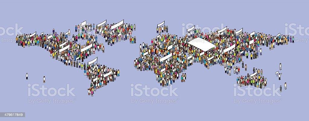 world protesting vector art illustration