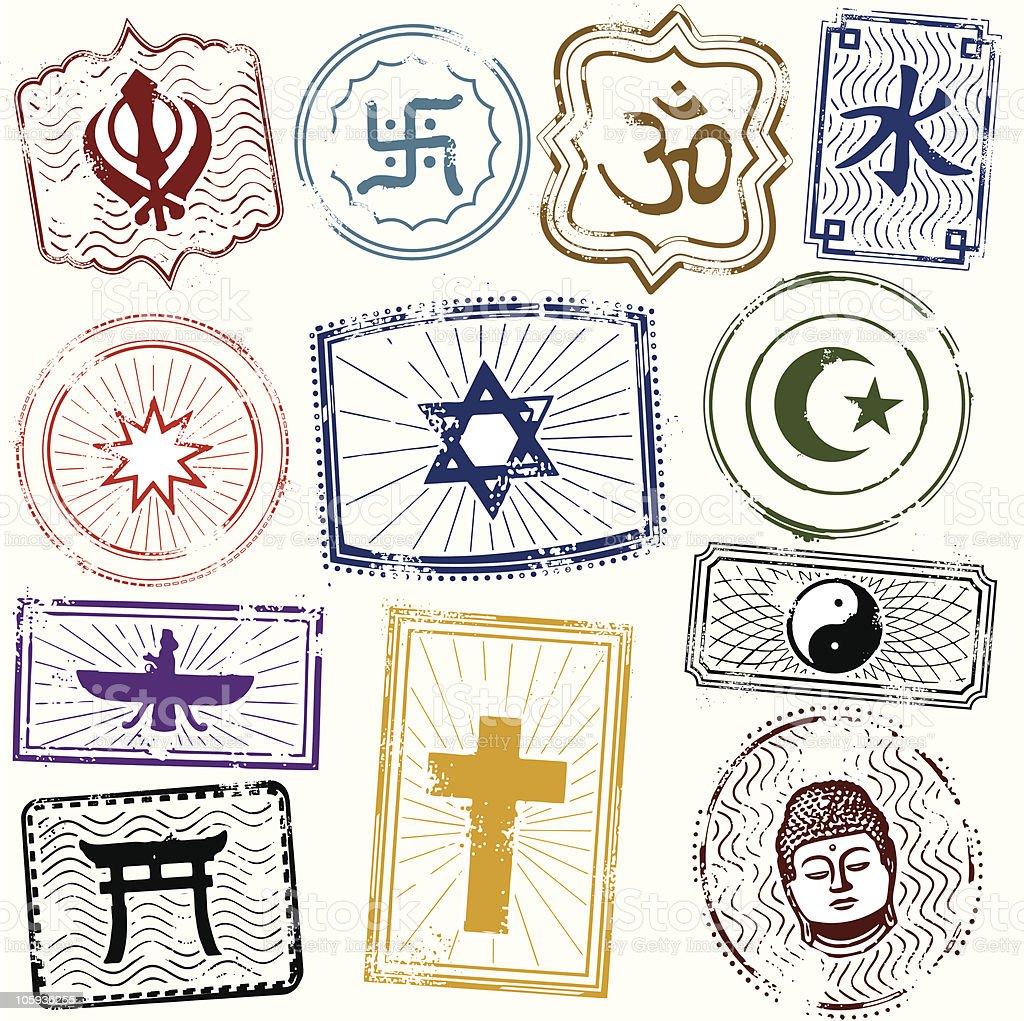 World Relgions Icons vector art illustration