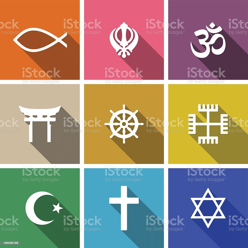 World religion symbols flat set vector art illustration