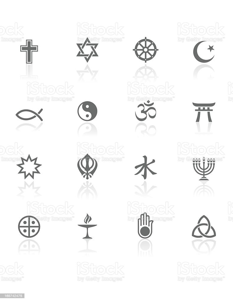 World Religions | BW Icons vector art illustration