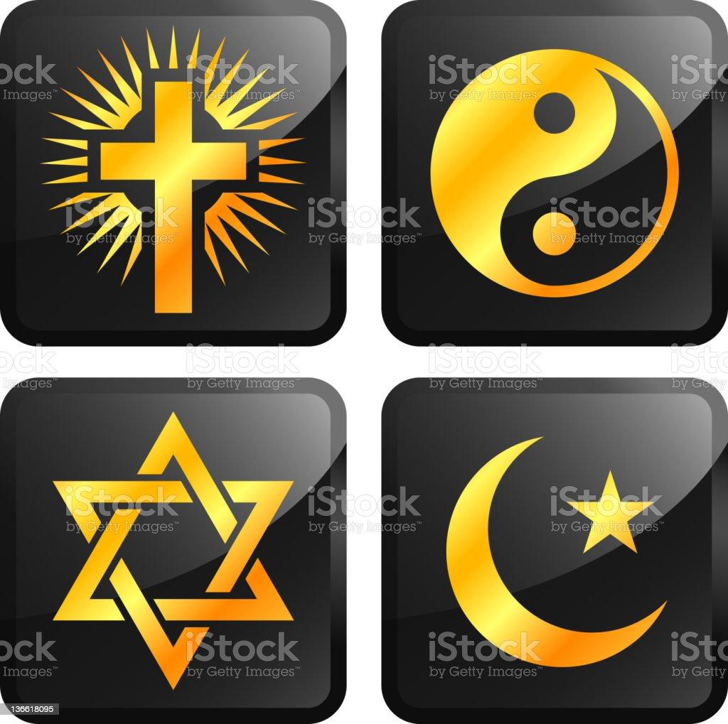 world religions icons golden sticker set vector art illustration