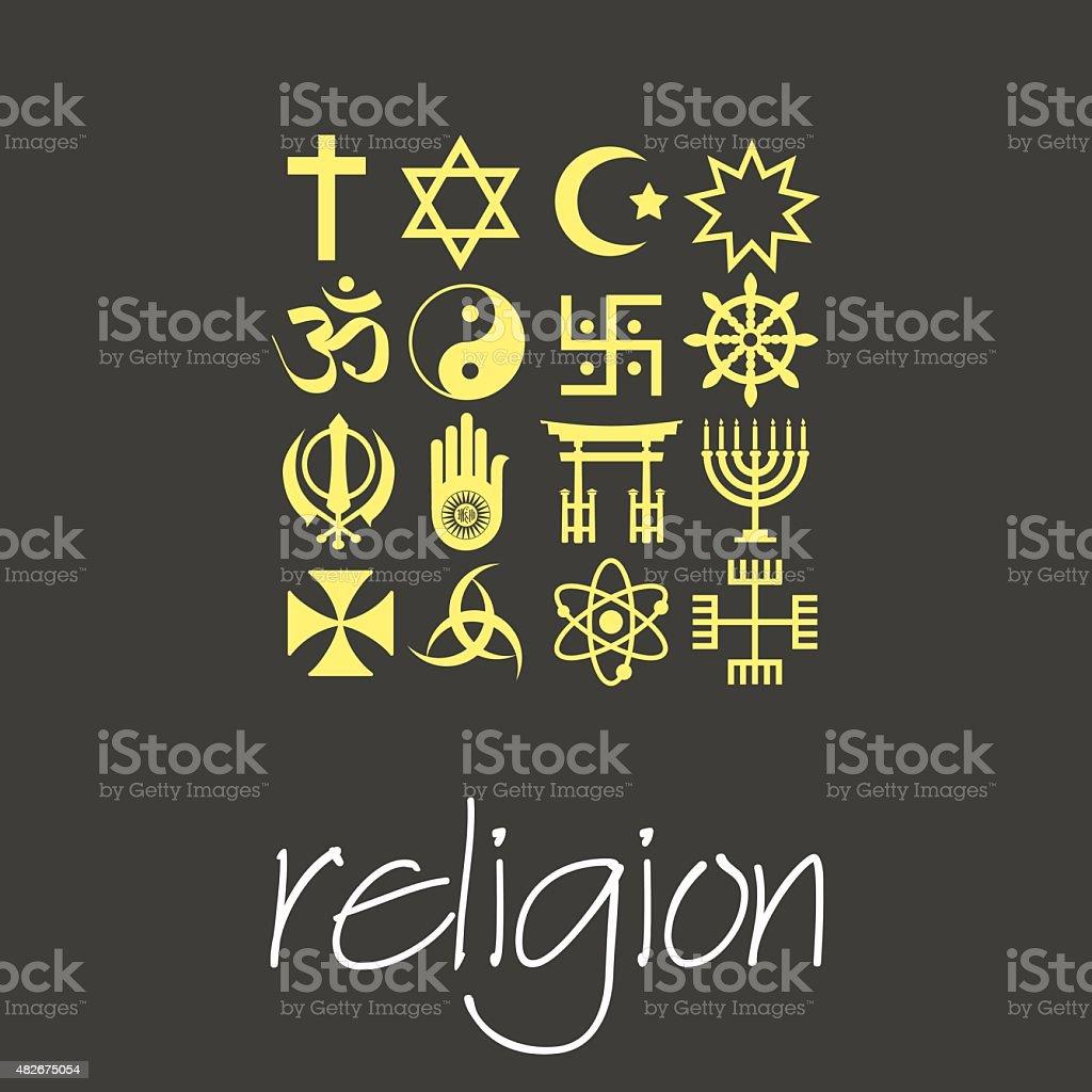 world religions symbols vector set of green icons  eps10 vector art illustration