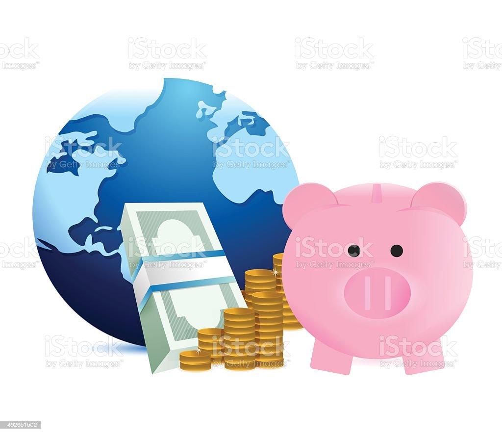 world savings illustration design over a white background vector art illustration