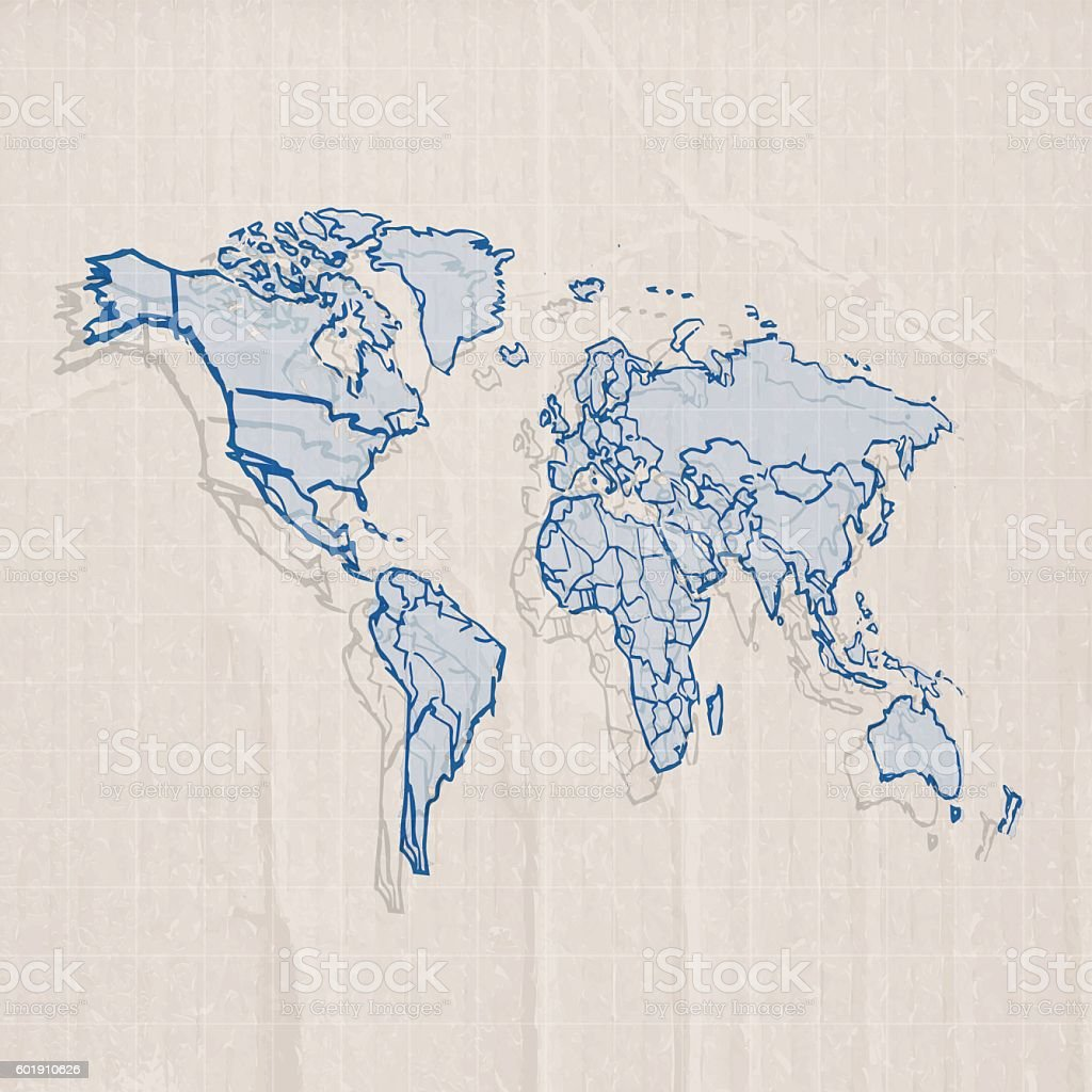 World scribbled blue with pencil on carboard background vector art illustration