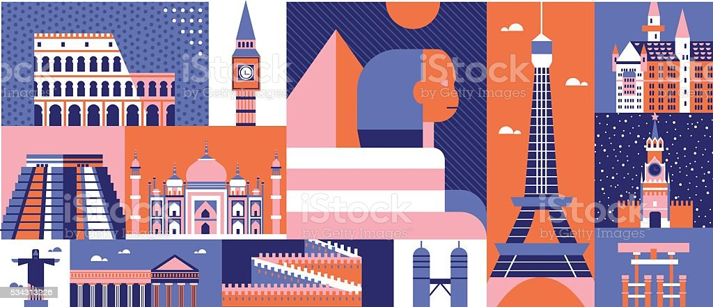 World sights background abstract vector art illustration