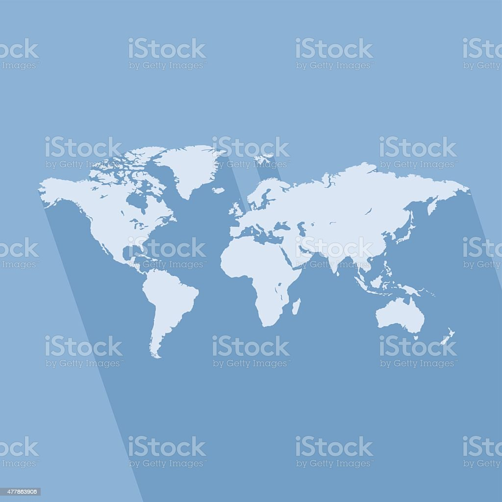 World simple blue map on blue background vector art illustration