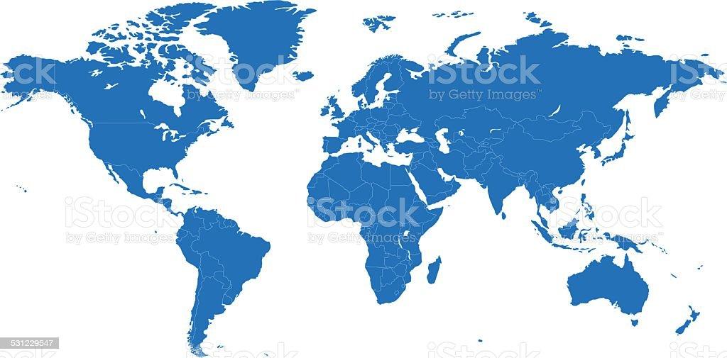 World simple blue map on white background vector art illustration