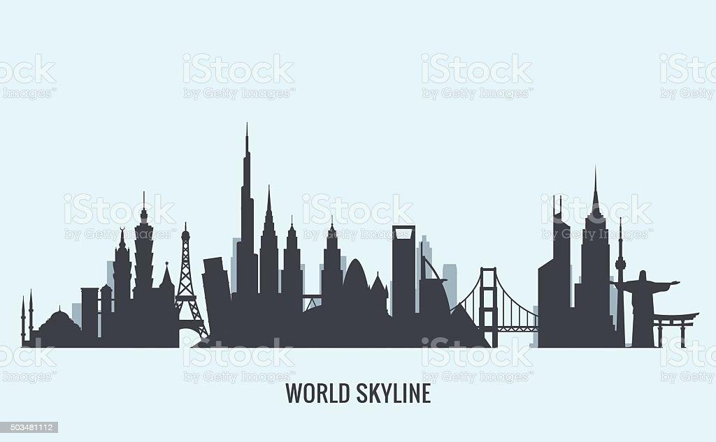 World skyline silhouette. Travel and tourism background. vector art illustration