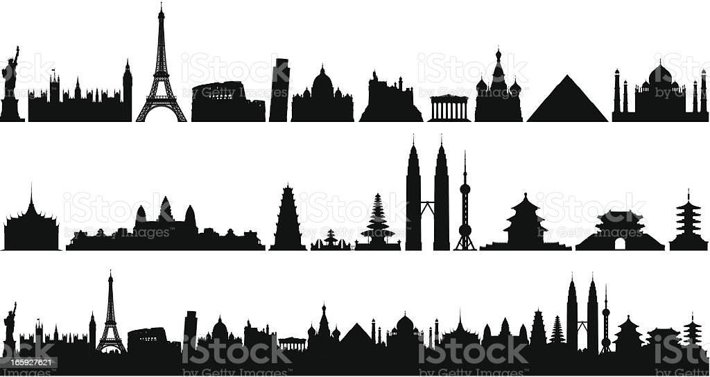 World Skyline (Buildings Are Detailed, Moveable and Complete) vector art illustration