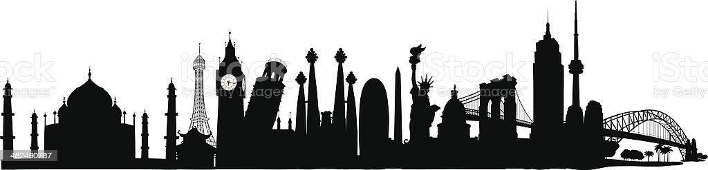 World Skyline vector art illustration