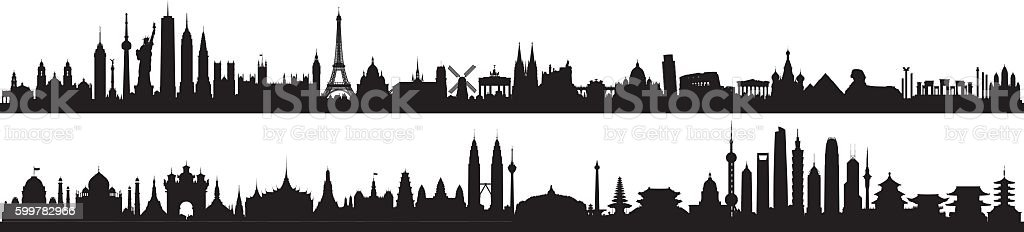 World Skyline (All Buildings Are Detailed, Complete and Moveable) vector art illustration