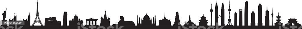 World Skyline (All Buildings Are Detailed and Moveable) vector art illustration