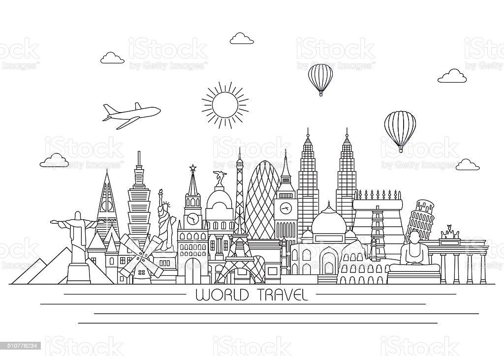 World skyline. Vector line illustration. Line style design vector art illustration