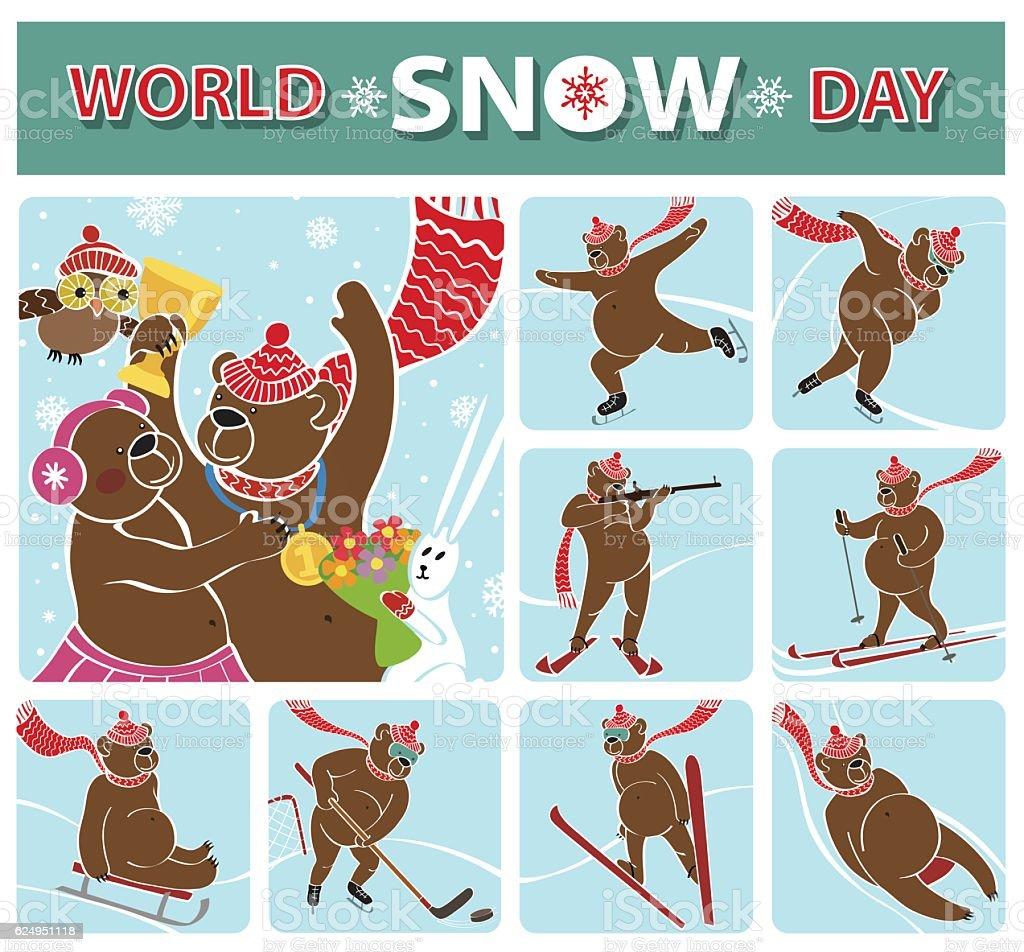 World snow day.Bear champion.Winter sports vector art illustration