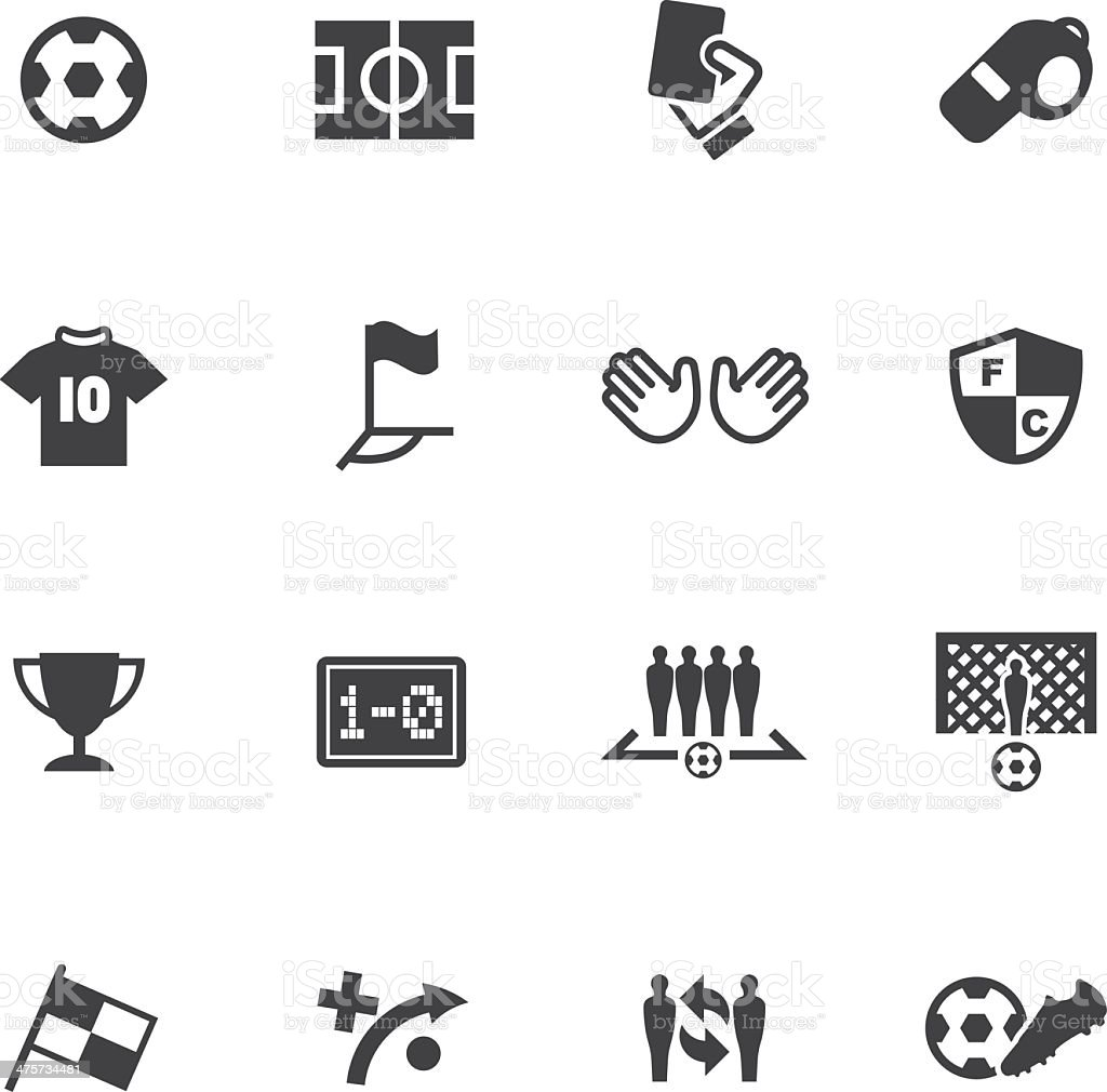 World Soccer Silhouette icons 1 vector art illustration