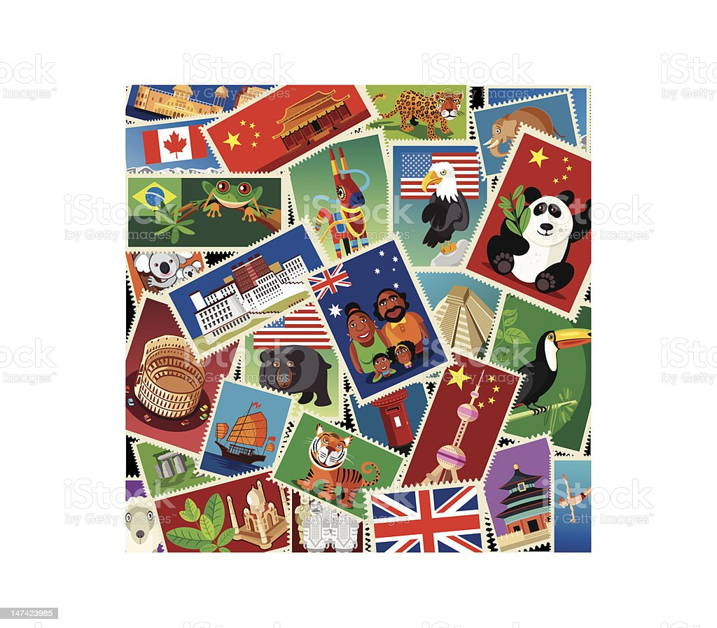 World Stamps vector art illustration